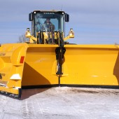 The foldable snow plow VLES is specially designed for powerful wheel loader to remove a large amount of snow