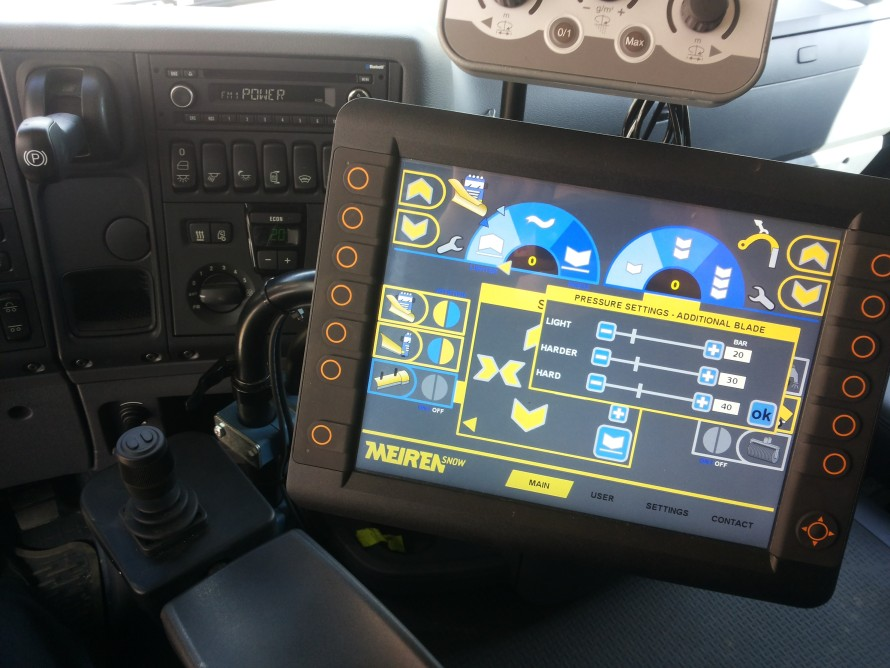 New display and joystick for road maintenance devices