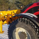 The snow plow is suitable to use with tractors, loaders and trucks